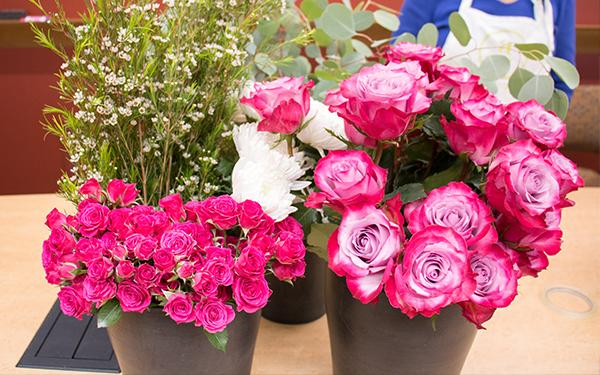flowers organized in buckets