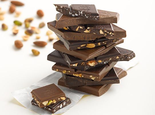 stack of milk and dark chocolate bars
