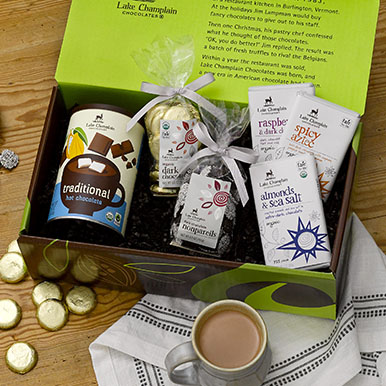 Assorted vegan chocolates in a gift box
