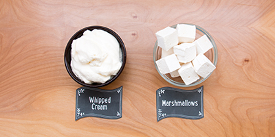 whipped cream or marshmallows for hot chocolate