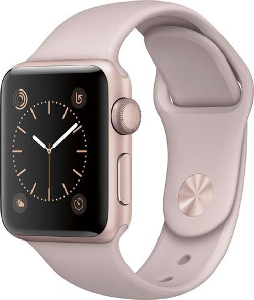 APPLE - APPLE WATCH SERIES 2 38MM ROSE GOLD ALUMINUM CASE PINK SAND SPORT BAND - ROSE GOLD ALUMINUM