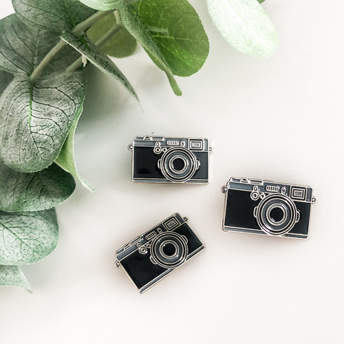 Black Camera Enamel Lapel Pin