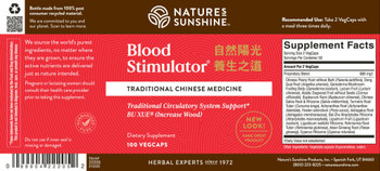 BLOOD STIMULATOR, CHINESE (100 Vegi-Caps)