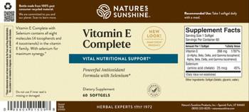 Vitamin E Complete with Selenium(60 Softgel Caps)