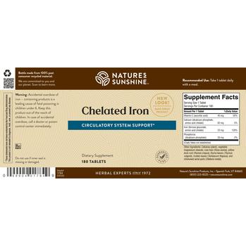 Chelated Iron (25 mg) (180 Tabs) [KO]