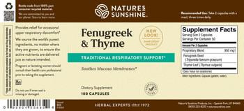 FENUGREEK & THYME (100 Caps) [KO]