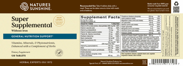 SUPER SUPPLEMENTAL VITAMIN & MINERAL WITHOUT IRON (120 Tabs)