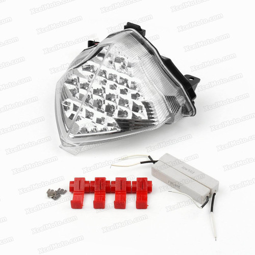 The LED turn signals integrated taillights assembly was compatible with 2004 2005 2006 Yamaha YZF-R1, this taillights combines tail lights and turn signals into one unit and are more functional.