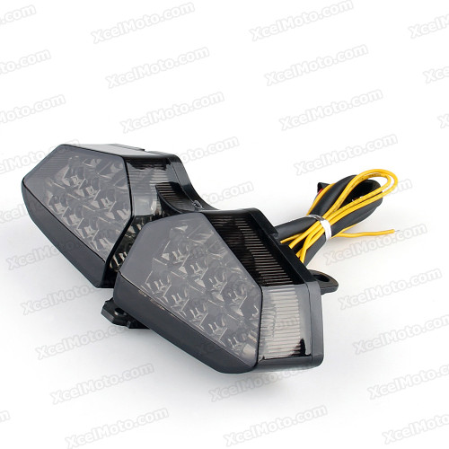 The LED turn signals integrated taillights assembly was compatible with 2006 2007 2008 2009 Yamaha XTZ 250X, this taillights combines tail lights and turn signals into one unit and are more functional.