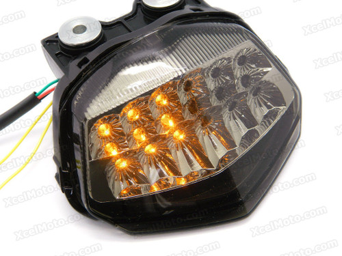 The LED turn signals integrated taillights assembly was compatible with 2008 2009 2010 2011 2012 Kawasaki Ninja 250R EX250, this taillights combines tail lights and turn signals into one unit and are more functional.