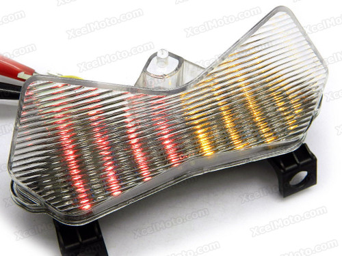 The LED turn signals integrated taillights assembly was compatible with 2003 2004 Kawasaki Z750S, this taillights combines tail lights and turn signals into one unit and are more functional.