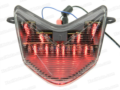 The LED turn signals integrated taillights assembly was compatible with 2005 2006 Kawasaki Ninja ZX-6R, this taillights combines tail lights and turn signals into one unit and are more functional.
