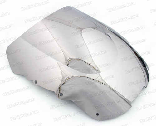 Motorcycle racing bubble windscreen for 1997 to 2003 Honda CBR1100XX, formed with a wedge-shaped bubble in the center of the windscreen, the racing windscreen is an efficient design that deflects wind off the rider, allowing higher speeds and improved rider comfort.