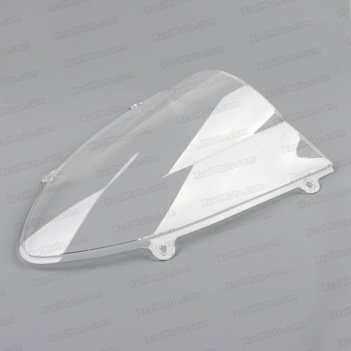 Motorcycle racing bubble windscreen for 2008 2009 2010 2011 2012 Kawasaki Ninja 250R EX250, formed with a wedge-shaped bubble in the center of the windscreen, the racing windscreen is an efficient design that deflects wind off the rider, allowing higher speeds and improved rider comfort.