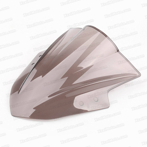 Motorcycle racing bubble windscreen for 2013 2014 2015 Kawasaki Ninja 300 EX300, formed with a wedge-shaped bubble in the center of the windscreen, the racing windscreen is an efficient design that deflects wind off the rider, allowing higher speeds and improved rider comfort.