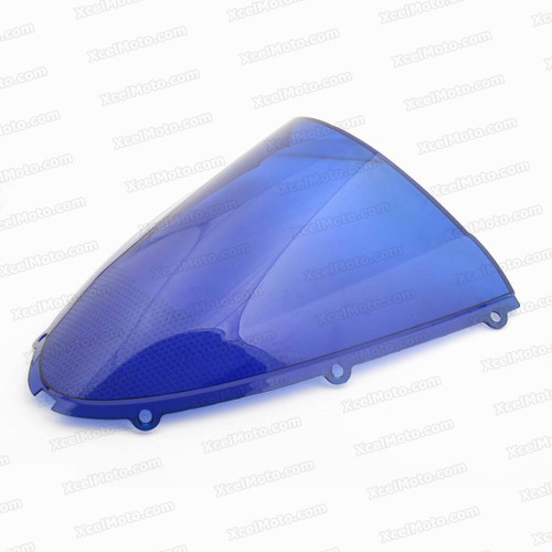 Motorcycle racing bubble windscreen for 2005 2006 Kawasaki Ninja ZX-6R 636, formed with a wedge-shaped bubble in the center of the windscreen, the racing windscreen is an efficient design that deflects wind off the rider, allowing higher speeds and improved rider comfort.