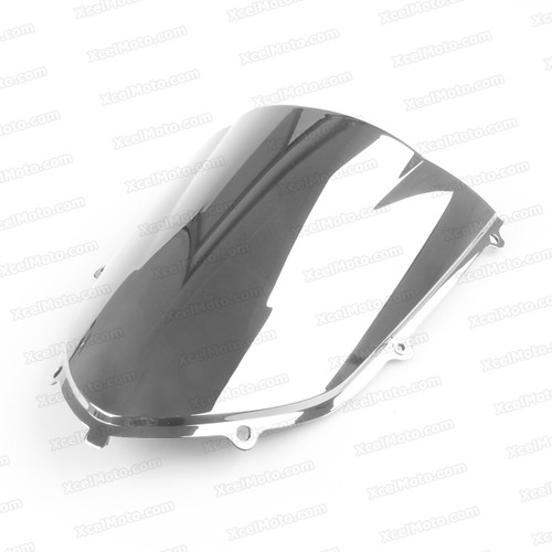 Motorcycle racing bubble windscreen for 2004 2005 Kawasaki Ninja ZX-10R, formed with a wedge-shaped bubble in the center of the windscreen, the racing windscreen is an efficient design that deflects wind off the rider, allowing higher speeds and improved rider comfort.