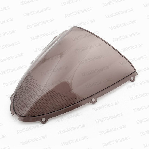 Motorcycle racing bubble windscreen for 2006 2007 Kawasaki Ninja ZX-10R, formed with a wedge-shaped bubble in the center of the windscreen, the racing windscreen is an efficient design that deflects wind off the rider, allowing higher speeds and improved rider comfort.