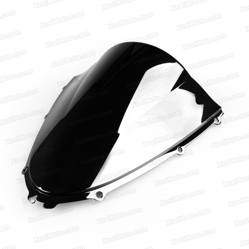 Motorcycle racing bubble windscreen for 2006 to 2012 Kawasaki Ninja ZX-14R, formed with a wedge-shaped bubble in the center of the windscreen, the racing windscreen is an efficient design that deflects wind off the rider, allowing higher speeds and improved rider comfort.