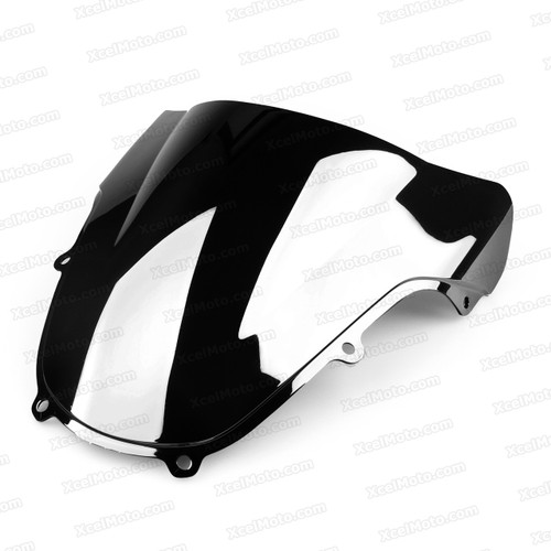 Motorcycle racing bubble windscreen for 2001 2002 Suzuki GSXR1000, formed with a wedge-shaped bubble in the center of the windscreen, the racing windscreen is an efficient design that deflects wind off the rider, allowing higher speeds and improved rider comfort.
