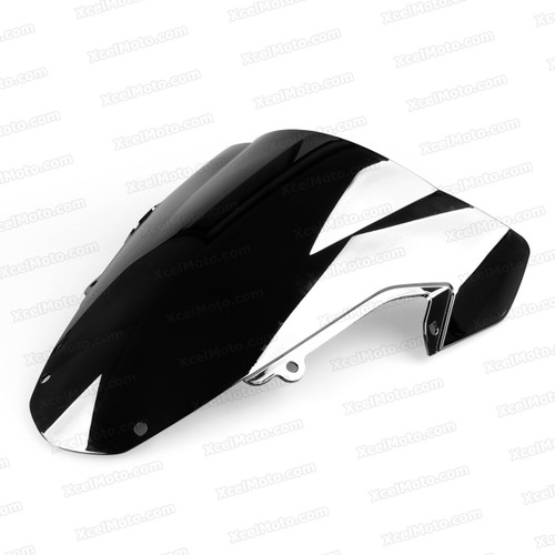 Motorcycle racing bubble windscreen for 2003 2004 Suzuki GSXR1000, formed with a wedge-shaped bubble in the center of the windscreen, the racing windscreen is an efficient design that deflects wind off the rider, allowing higher speeds and improved rider comfort.