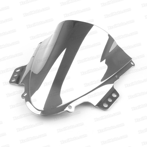 Motorcycle racing bubble windscreen for 2005 2006 Suzuki GSXR1000, formed with a wedge-shaped bubble in the center of the windscreen, the racing windscreen is an efficient design that deflects wind off the rider, allowing higher speeds and improved rider comfort.