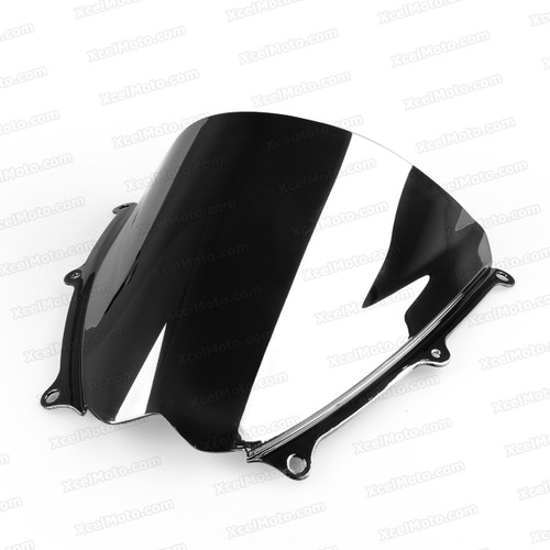 Motorcycle racing bubble windscreen for 2007 2008 Suzuki GSXR1000, formed with a wedge-shaped bubble in the center of the windscreen, the racing windscreen is an efficient design that deflects wind off the rider, allowing higher speeds and improved rider comfort.