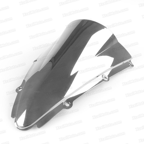 Motorcycle racing bubble windscreen for 2000 2001 Yamaha YZF-R1, formed with a wedge-shaped bubble in the center of the windscreen, the racing windscreen is an efficient design that deflects wind off the rider, allowing higher speeds and improved rider comfort.