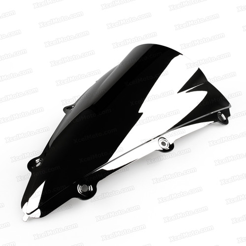 Motorcycle racing bubble windscreen for 2004 2005 2006 Yamaha YZF-R1, formed with a wedge-shaped bubble in the center of the windscreen, the racing windscreen is an efficient design that deflects wind off the rider, allowing higher speeds and improved rider comfort.
