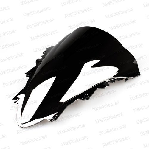 Motorcycle racing bubble windscreen for 2007 2008 Yamaha YZF-R1, formed with a wedge-shaped bubble in the center of the windscreen, the racing windscreen is an efficient design that deflects wind off the rider, allowing higher speeds and improved rider comfort.