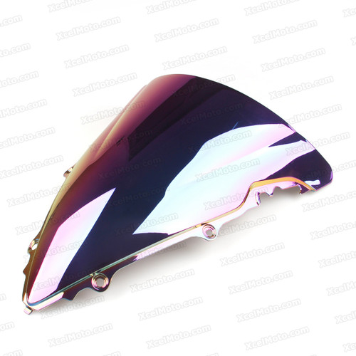 Motorcycle racing bubble windscreen for 2003 2004 2005 Yamaha YZF-R6, formed with a wedge-shaped bubble in the center of the windscreen, the racing windscreen is an efficient design that deflects wind off the rider, allowing higher speeds and improved rider comfort.