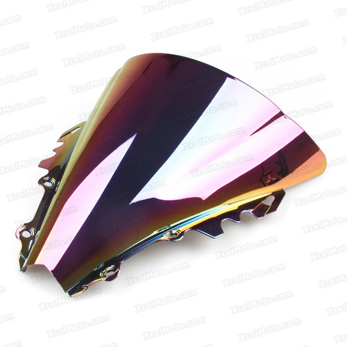 Motorcycle racing bubble windscreen for 2006 2007 Yamaha YZF-R6, formed with a wedge-shaped bubble in the center of the windscreen, the racing windscreen is an efficient design that deflects wind off the rider, allowing higher speeds and improved rider comfort.