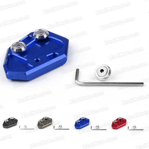 Motorcycle kickstand foot for 2009 to 2014 BMW S1000RR, manufactured from aluminum and stainless steel and fit original kickstand perfectly.