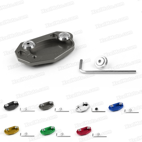 Motorcycle kickstand foot for 2012 2013 2014 2015 Kawasaki Ninja 650 ER-6N, ER-6F, manufactured from aluminum and stainless steel and fit original kickstand perfectly.