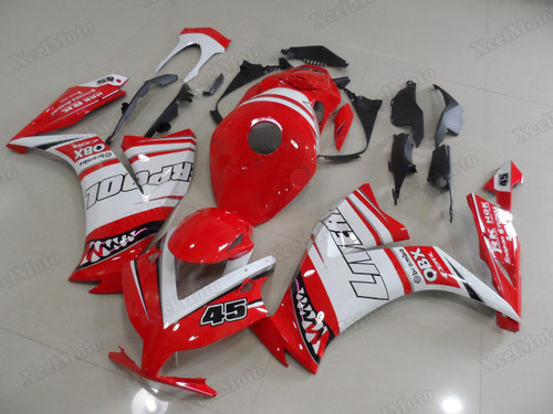 2012 2013 2014 2015 2016 Honda CBR1000RR Fireblade custom red/white shark scheme fairings and body kits, Honda CBR1000RR Fireblade OEM replacement fairings and bodywork.