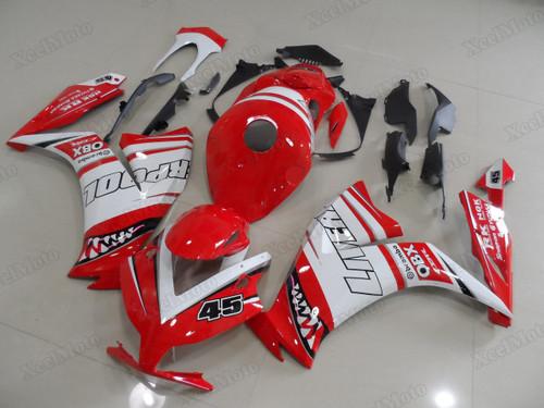 2012 2013 2014 2015 2016 Honda CBR1000RR Fireblade custom red/white shark scheme fairings and body kits, Honda CBR1000RR Fireblade OEM replacement fairings and bodywork.