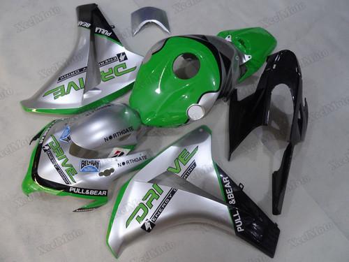 2008 2009 2010 2011 Honda CBR1000RR Fireblade silver/green fairings and body kits, Honda CBR1000RR Fireblade OEM replacement fairings and bodywork.