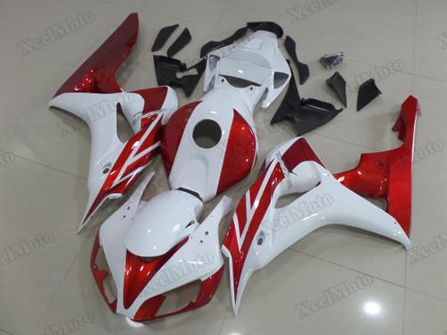 2006 2007 Honda CBR1000RR Fireblade white/red fairings and body kits, Honda CBR1000RR Fireblade OEM replacement fairings and bodywork.