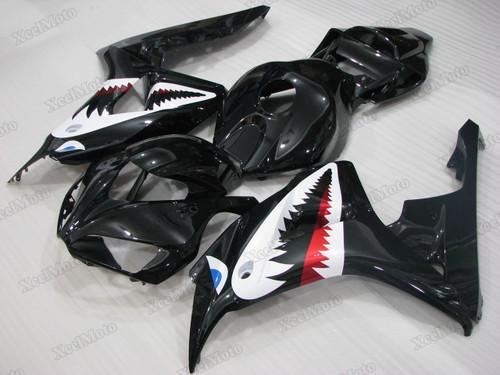 2006 2007 Honda CBR1000RR Fireblade gloss black shark fairings and body kits, Honda CBR1000RR Fireblade OEM replacement fairings and bodywork.