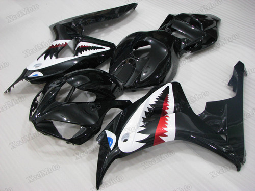 2006 2007 Honda CBR1000RR Fireblade gloss black shark fairings and body kits, Honda CBR1000RR Fireblade OEM replacement fairings and bodywork.