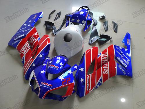 2004 2005 Honda CBR1000RR Fireblade blue/red fairings and body kits, Honda CBR1000RR Fireblade OEM replacement fairings and bodywork.