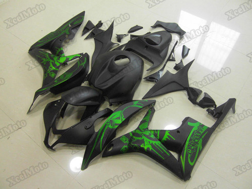 2007 2008 Honda CBR600RR matte black/green graphic fairings and body kits, Honda CBR600RR OEM replacement fairings and bodywork.