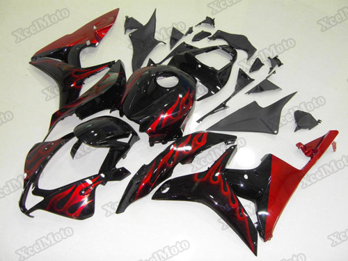 2007 2008 Honda CBR600RR red flame fairings and body kits, Honda CBR600RR OEM replacement fairings and bodywork.
