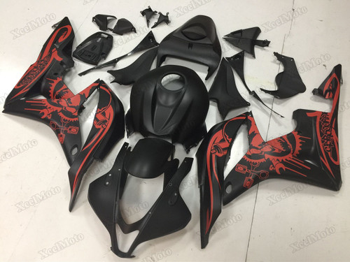 2007 2008 Honda CBR600RR matte black/red graphic fairings and body kits, Honda CBR600RR OEM replacement fairings and bodywork.