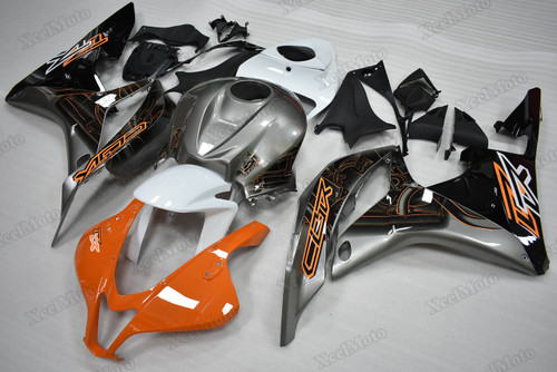 2007 2008 Honda CBR600RR orange/grey fairings and body kits, Honda CBR600RR OEM replacement fairings and bodywork.