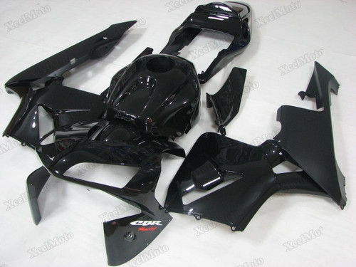 2003 2004 Honda CBR600RR gloss black fairings and body kits, Honda CBR600RR OEM replacement fairings and bodywork.