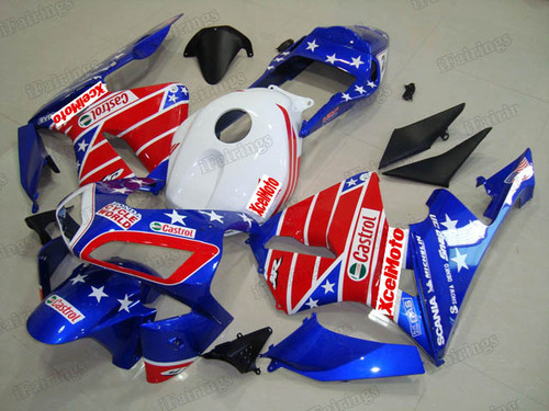 2003 2004 Honda CBR600RR US flag fairings and body kits, Honda CBR600RR OEM replacement fairings and bodywork.
