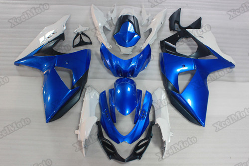 2009 to 2015 2016 Suzuki GSXR1000 blue and white fairings and body kits, Suzuki GSXR1000 OEM replacement fairings and bodywork.