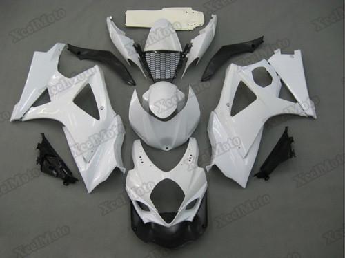 2007 2008 Suzuki GSXR1000 pearl white fairings and body kits, Suzuki GSXR1000 OEM replacement fairings and bodywork.