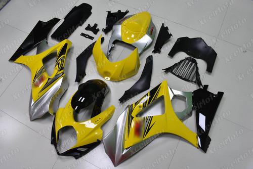 2007 2008 Suzuki GSXR1000 Gixxer yellow silver and black fairing